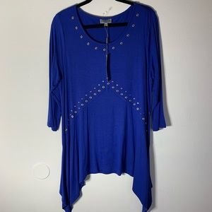 Joseph A royal blue women's blouse xlg NWT
